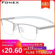 FONEX B Titanium Glasses Frame Men New Prescription Eye Glasses Semi Rimless Square Eyeglasses Myopia Optical Eyewear 872