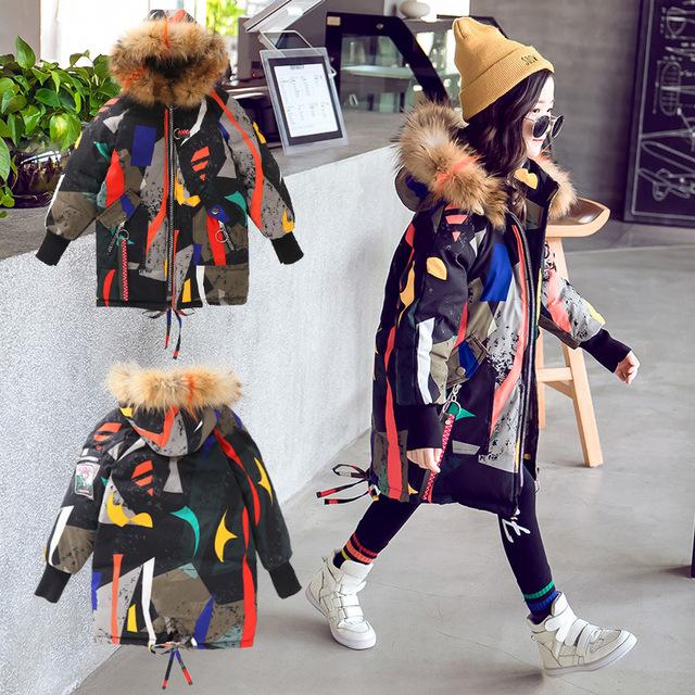 Girls Winter Coat Warm Thick Fur Collar Hooded Long Down
