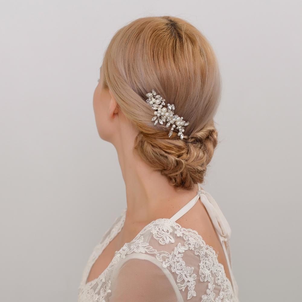 TRiXY H13 Elegant Wedding Hair Jewelry Hair Tiara Pearl Bridal Hair Comb Rhinestone Bridal Hair Comb Wedding Hair Accessories