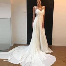 Simples chiffon vestidos de casamento rendas appliqued praia princesa vestidos de noiva plus size manga vestido de festa de casamento