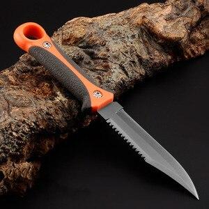 Sharp fixed Blade Hunting Knife Gray Titanium Camping Survival Knife Diving Paratroopers Half Teeth Pocket +ABS Sheath(China)
