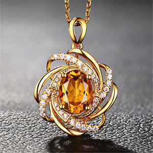 2 carats yellow crystal citrine gemstones diamonds pendant necklaces for women gold tone choker chain jewelry bijoux bague gifts