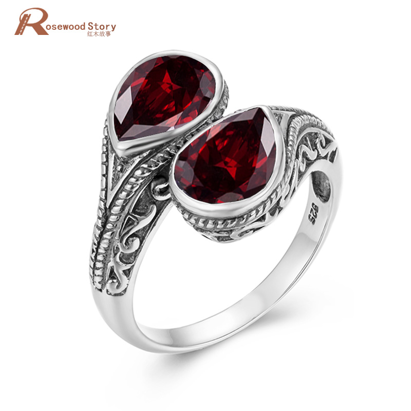 Real 925 Sterling Silver Womens Rings Fine Jewelry Garnet Ring Neo-Gothic Water Drop Gemstones Wedding Bands Jewellery Gift New