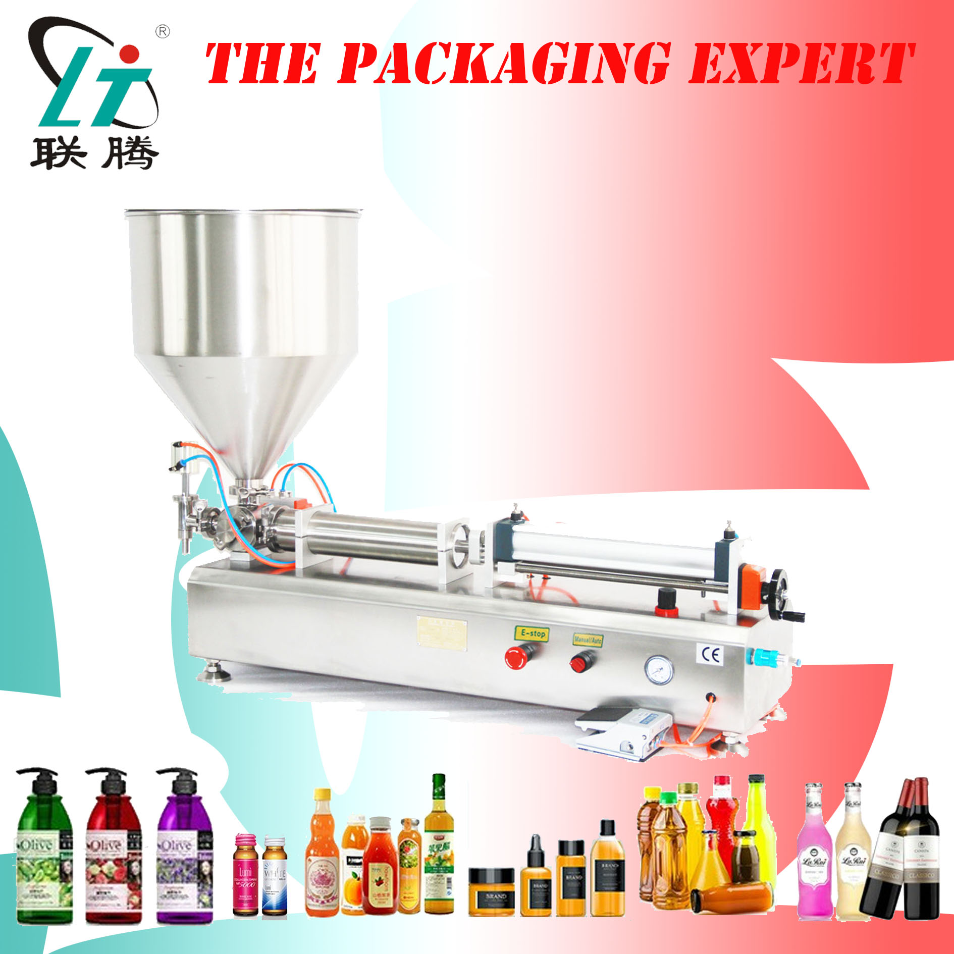 Fully Pneumatic Paste Filling Machine Pneumatic With Single Cylinder Piston Shampoo Cream Sauce Lotion Oil Filler No Electric