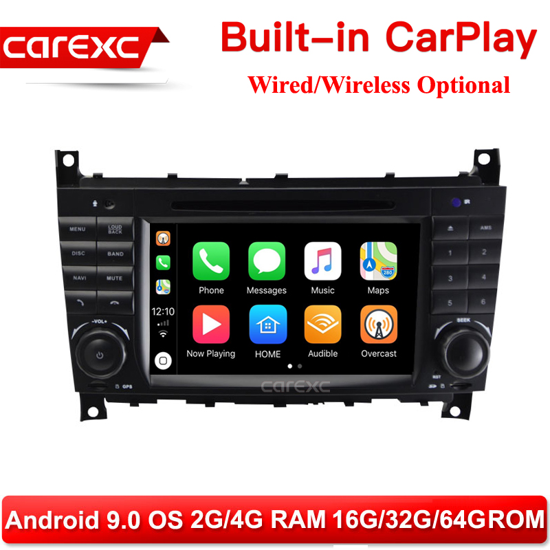 CarExc Android 9.0 DVD Player Wireless CarPlay Radio GPS RDS for Mercedes Benz CLK <font><b>W203</b></font> C180 C200 C220 C230 C240 C250 <font><b>C270</b></font> W463 image