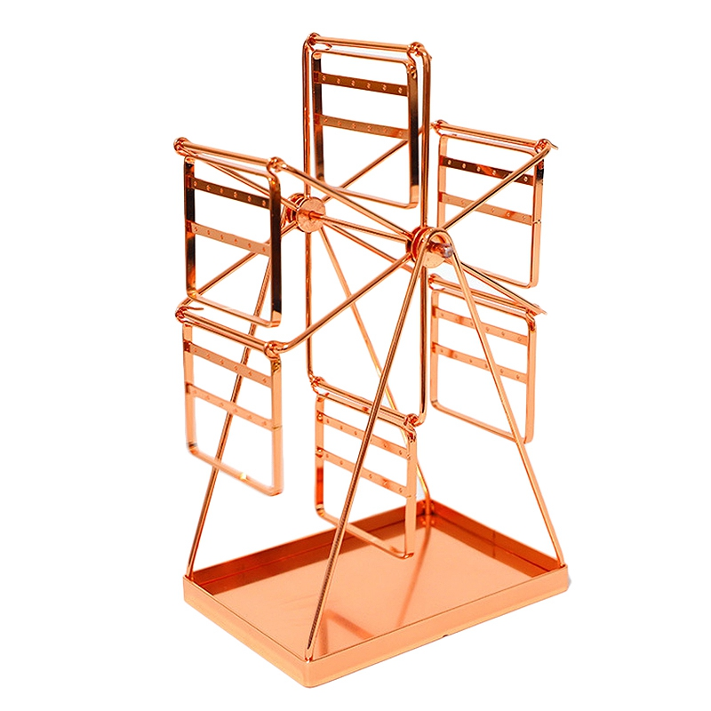 Ferris Wheel Shaped Earring Organizer Metal Earring Holder Rose Gold Jewelry Display Stand Decorative Storage Rack for Earring