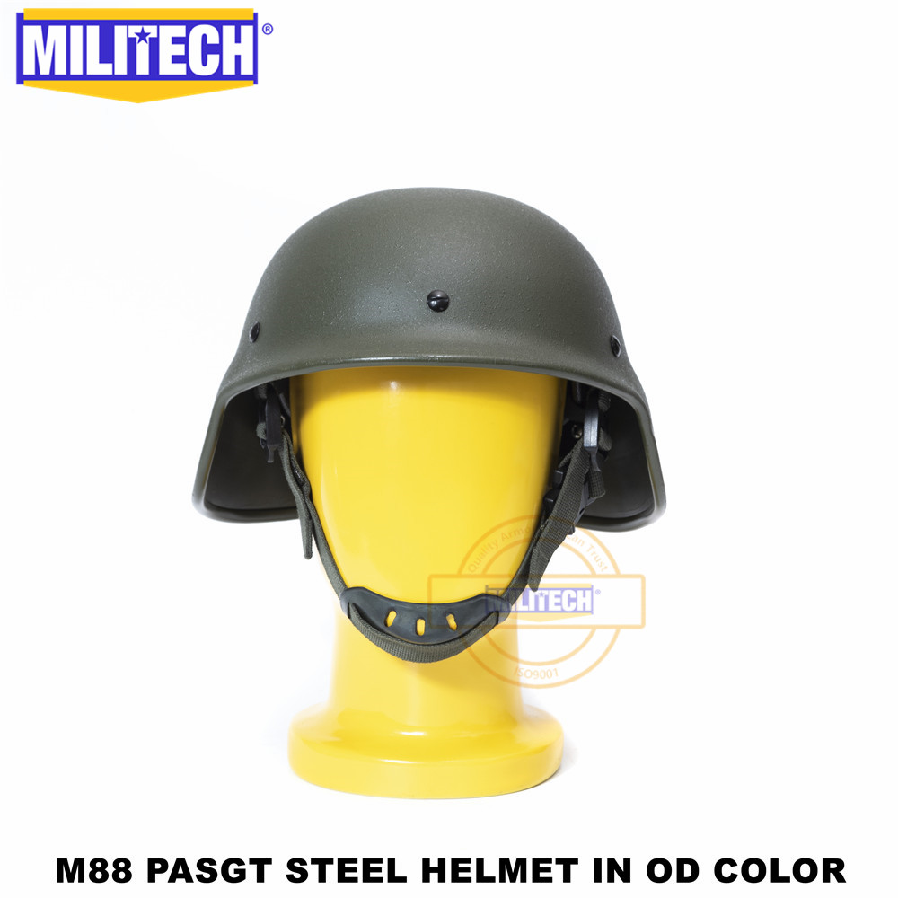 MILITECH NIJ IIIA 3A M88 Steel Bullet Proof Helmet Steel Ballistic Helmet PASGT Steel Bulletproof Helmet With Test Report