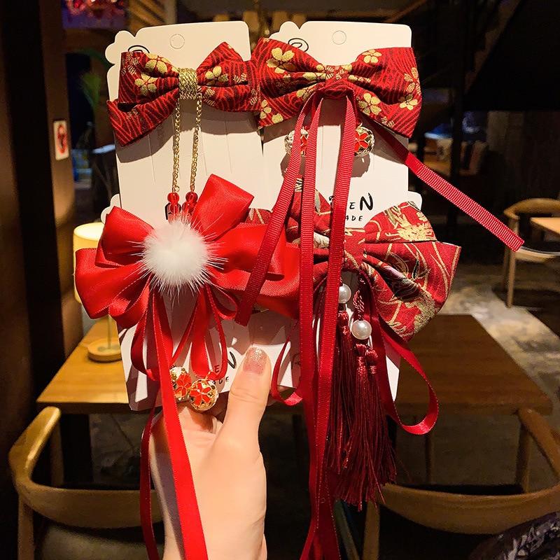 Заколки для волос в китайском стиле с бантом, Детские Милые новогодние заколки для волос, украшение для волос в стиле ретро, красная лента с ...