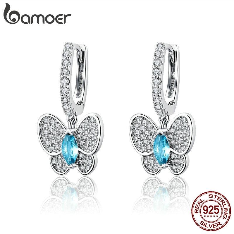 Weiß-blau funkelnde Zirkonia-Schmetterlinge | 925 Ohrringe 925 Klappcreolen mit Anhänger