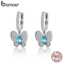 BAMOER – boucles d'oreilles papillon en cristal pour femmes, bijoux en argent Sterling 925, clair, lumineux, pour mariage, fiançailles, SCE513