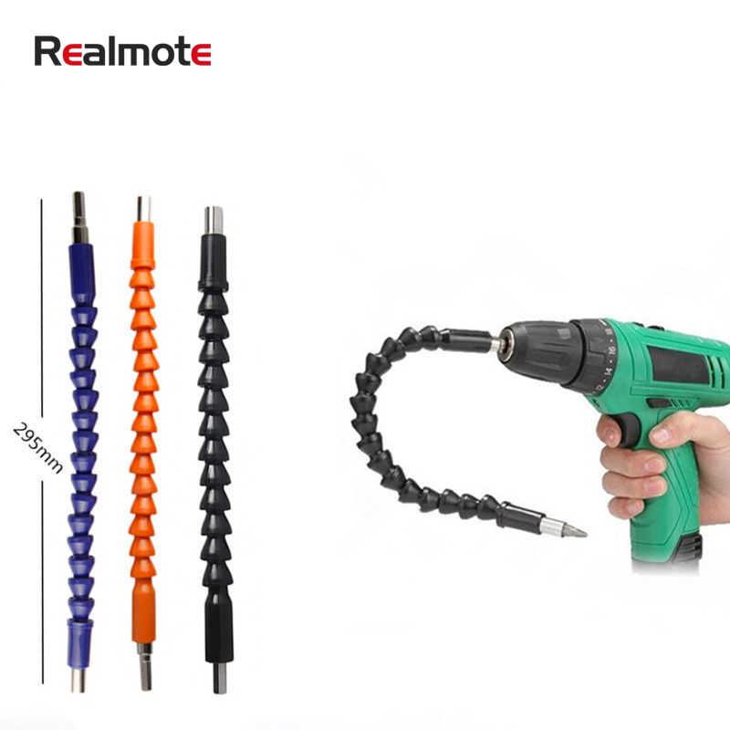 Realmote 295mm Screwdriver Bend Universal Adapter Extension Rod Drill Bit Flexible Shaft (No Drill) Dremel Accessories