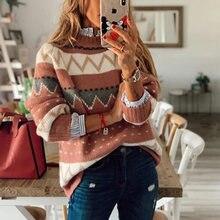 Осень зима 2020 мягкий полосатый свитер повседневный женский