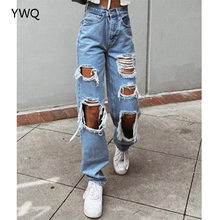 High Waist Jeans Straight Leg Design Ripped Detailing On The Front Causal Vintage Denim Pants Zip Fly Metal Top Button Fastenins