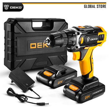 DEKO 12V 16V 20V Electric Screwdriver with Lithium Battery Cordless Drill Power Tools for Woodworking Torque 18+1 Settings