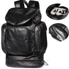 big bags leather travel backpack waterproof men weekend bag large 15.6 laptop usb charge shoe