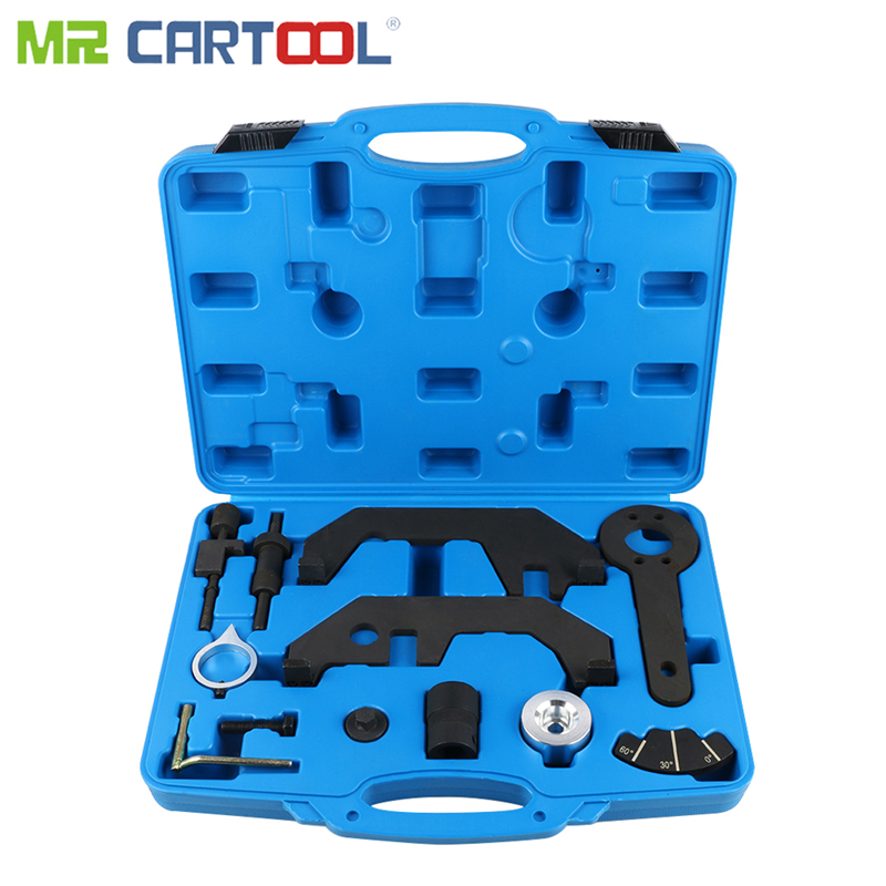 MR CARTOOL 12 Pcs Car Engine Timing Tool Kit Set For BMW N62/N62TU/N73 Camshaft Alignment Engine Extractor/Installer Tool