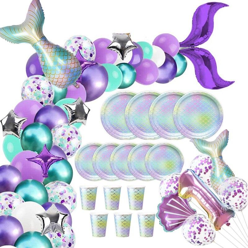 Cola de sirena globos Garland Set de arco desechables de vajilla tazas platos océano Fiesta Temática sirena suministros de fiesta de cumpleaños