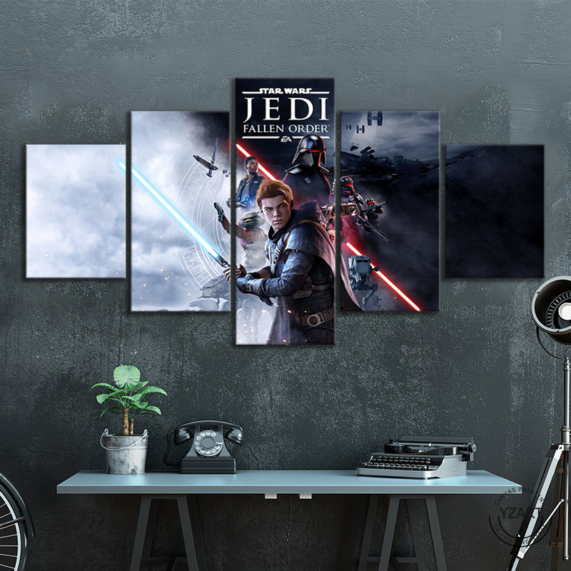5pcs Star Wars Jedi Fallen Order Characters Cal Kestis Video Game Posters Canvas Art Wall Paintings for Living Room Decor image