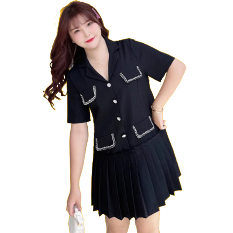 Summer Women's Dress 2021 Oversized Ladies Clothes Short Sleeve Chic Notched Collar Pleated Plus Size Dresses Robe Femme N8054