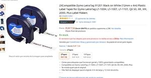 Image 3 - 2 uyumlu Dymo LetraTag 91201 siyah beyaz (12mm x 4m) plastik etiket bantları için LT 100H, LT 100T, LT 110T, QX 50, XR, XM,