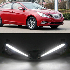 Image 4 - Car Flashing 2Pcs DRL fog lamp cover Daytime Running Lights headlight 12V Daylight For Hyundai Sonata 8  2013 2014