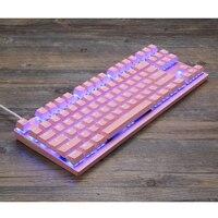 87 K82 Wired Mechanical Keyboard RGB Backlit Glowing Gaming Keyboards 87 Keys Black Pink Multi-Function USA Keyboard (5)