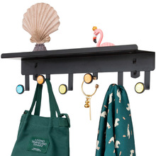 Wrought Iron Creative Wall Shelf Nordic Partition Free Punch Rack 4/5/6 Hooks Coat Hanger Bedroom Hanging