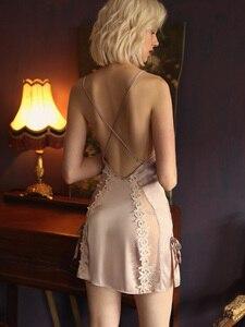 Image 5 - Пикантная Пижама, кружевная Домашняя одежда с цветами, Женская Летняя шелковая ночная рубашка на бретельках с красивой спинкой