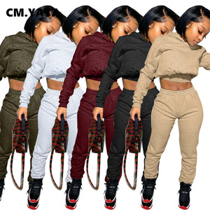 CM.YAYA Sportwear Solid Women's Set Short Hoodies Tops Jogger Pants Set Tracksuit Fitness Active Outfit Two Piece Matching Set