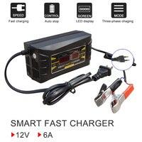 Portátil inteligente 12 v 6a carregador de bateria de carro agm gel chumbo ácido dispositivo de carregamento da bateria 12 volts automático para 12 v 75ah 100ah -