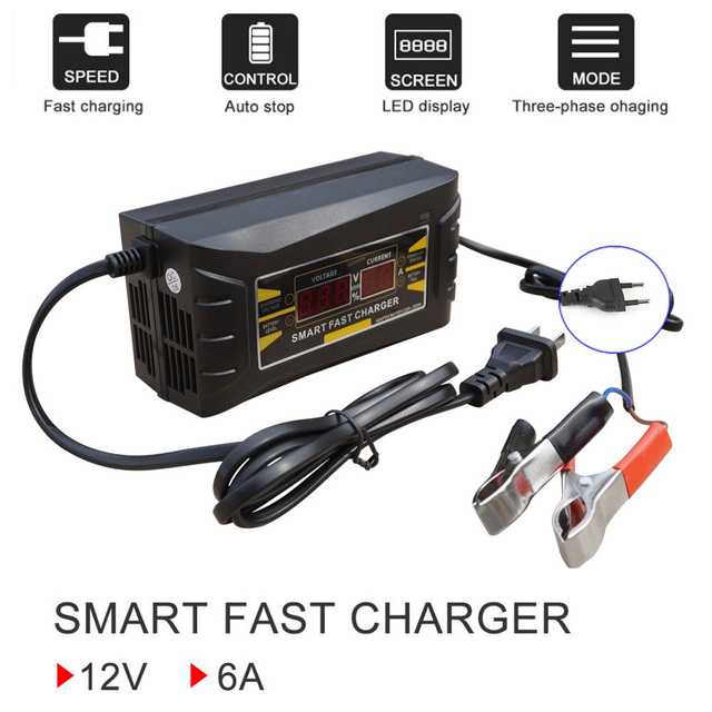 Portable Intelligent 12V 6A Car Battery Charger AGM GEL Lead Acid Battery Charging Device 12 Volt Automatic For 12V 75AH 100AH