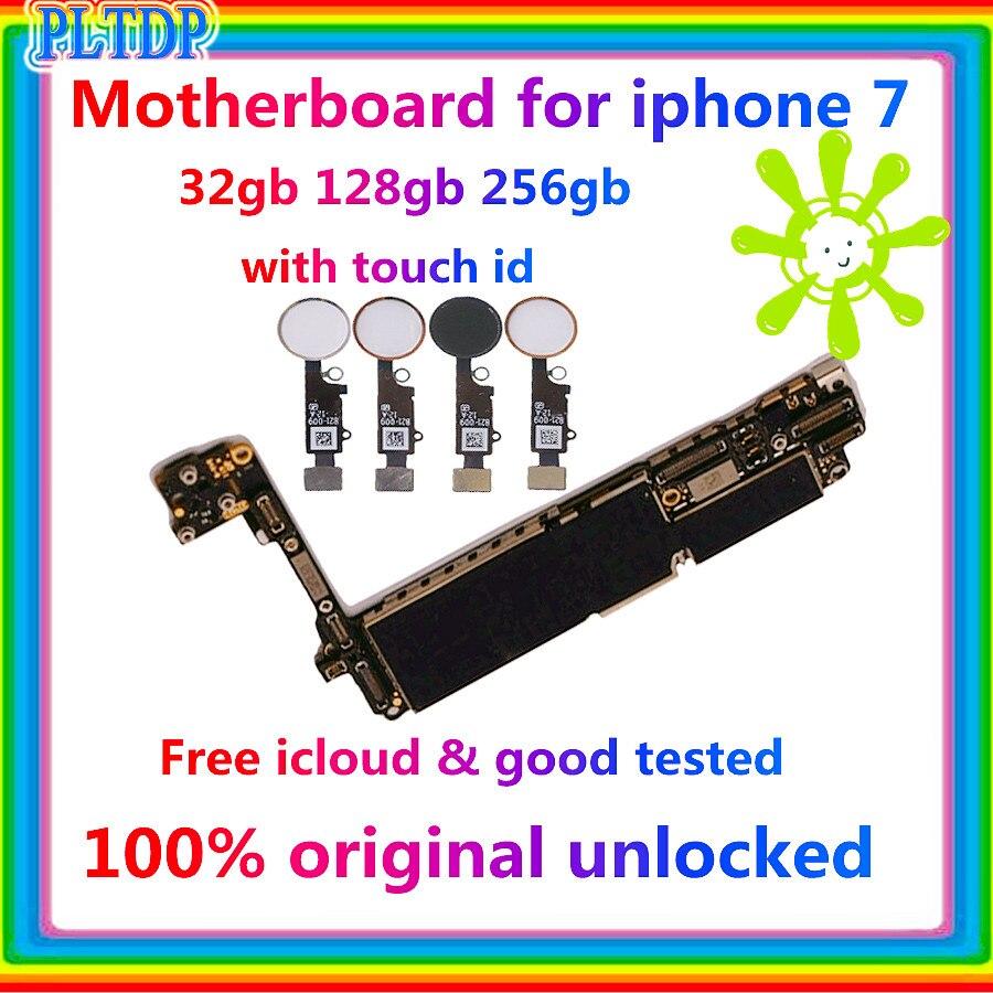 Czysta tablica logiczna iCloud 32GB 128GB 256GB odblokowany palca dla IPHONE 7 płyta główna z czytnikiem linii papilarnych Touch ID System Ios Fullchip