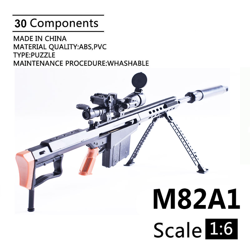 1:6 M82A1 Barrett Sniper Rifle  Assembling Gun Model Assembly Plastic Weapon For 1/6 Soldier Military Building Blocks Toy