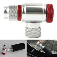 Fiets Mini Luchtpomp Hoofd CO2 Gas Tank Adapter Band Pomp Draagbare Inflator Accessoires Voor Presta/Schrader Valve-in Fiets pomp van sport & Entertainment op