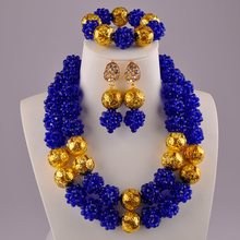 Royal Blue Afrikanische Perlen Schmuck Set Nigerian Halskette Sets(China)