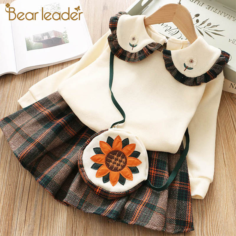 H42ecac6c952142a8a0be761feb39c8da9 Bear Leader Girls Dress 2019 Winter Geometric Pattern Dress Long Sleeve Girls Clothes Top Coat+ Tutu Dress Sweater Knitwear 2pcs