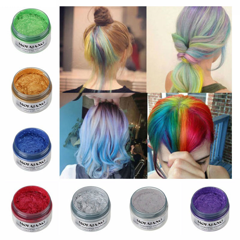 MOFAJANG Hair Color Styling Promades Wax Silver Hair Grey Hold Temporary Hair Dye Gel Mud Easy Wash Hair Coloring Wax 120g