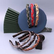 Модный обруч для волос из ПУ кожи стразы плетение Женские аксессуары