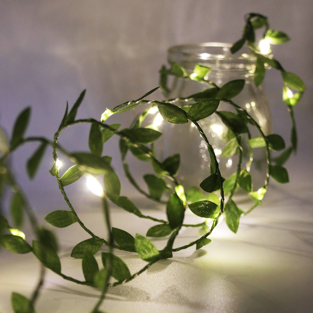 Leaf Garland Fairy String Lights 2M 3M 5M 10M Leaf Twine Copper Battery Operate Led String for Wedding Holiday Party Decoration