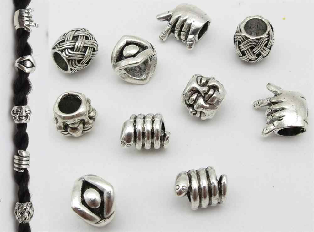10pcs/pack metal different 5 styles hair braid beard dread dreadlock beads rings tube Viking Rune for Hair Styling Accessories