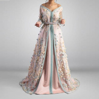 Sweet V Neck Pink Satin Moroccan Kaftan Evening Dress See Thru Sleeves 3D Appliques Dubai Arabic Prom Gown Formal Party Dresses