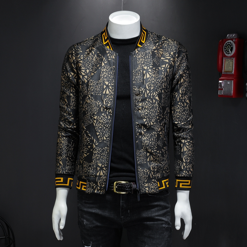 MENNE 2020 New Men Jacket Golden Print Pattern Baseball Jacket Men Zipper Coat