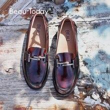 BeauToday Mokassin Slipper Frauen Marke Wohnungen Runde Zehe Slip auf Metall Patent Kuh Leder Handgemachte Schuhe 27040