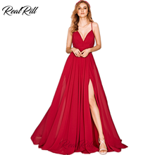 Real Rill V Neck Side Slit Evening Dress 2019 Chiffon Spaghetti Straps Zipper Up Back Floor Length A Line Formal For Party