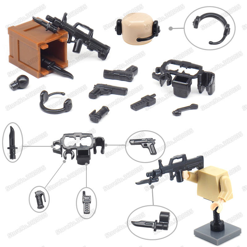 Legoinglys Military Weapons Belt Assembly Submachine Gun World War 2 Building Blocks Model Army Soldier Figures Child Gifts Toys