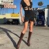 Totatoop Lace Up V Neck Ruched Bodycon Mini Dress Women 2020 Summer Hollow Out Ruffles Sundress Beachwear Vestidos 3