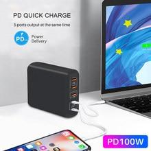 Умное зарядное устройство PD 100 Вт, быстрая зарядка GaN Type c QC 4,0 3,0, быстрая зарядка для планшетов, планшетов, Xiaomi, iphone pro.11, 8, 7, Macbook