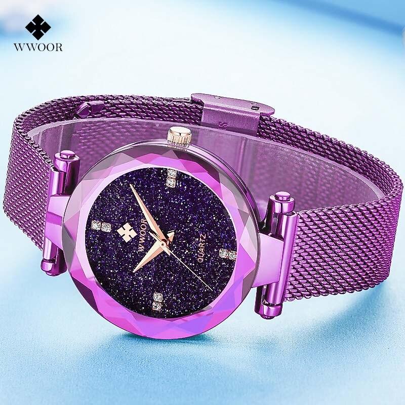 Модные Повседневное Для женщин часы Для женщин Элитный бренд wwoor Кварцевые часы Женские Нержавеющаясталь сетчатый ремешок браслет наручн