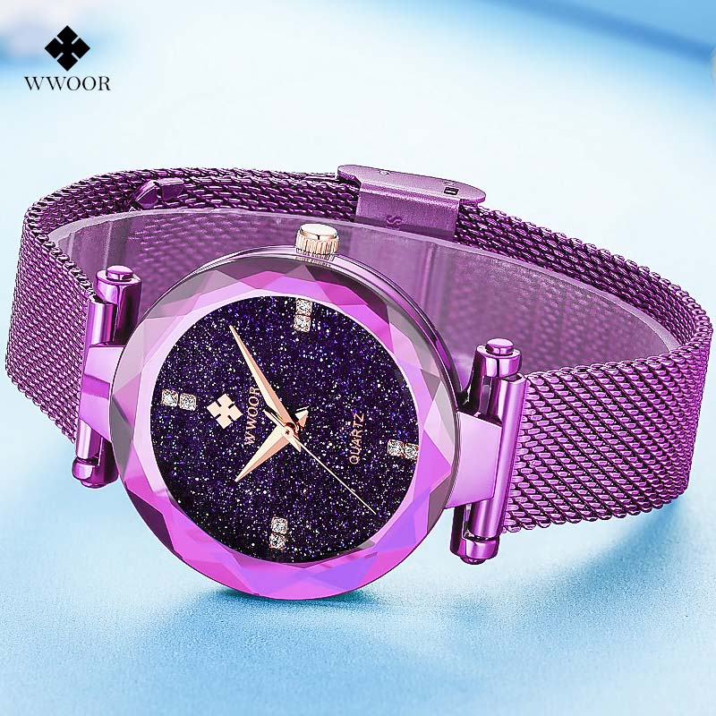 Fashion Casual Women's Watches Women Luxury Brand WWOOR Quartz Watch Ladies Stainless Steel Mesh Band Bracelet Wristwatch Clock