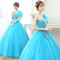 Princess 3D Floral Appliques Quinceanera Dresses Pageant One Shoulder Blue Tulle Puffy A Line Long Sweet 16 Prom Dress